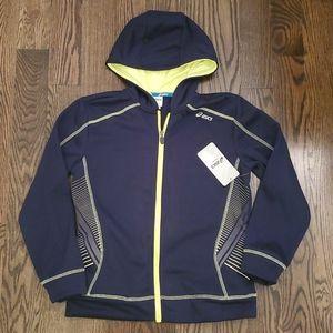 NWT ASICS Zippered Navy Sweater Size 10-12